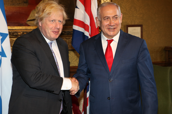 British Foreign Minister Boris Johnson and Israeli Prime Minister Benjamin Netanyahu