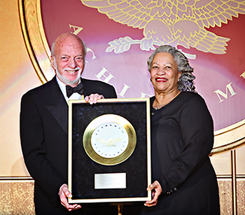 Harold Prince receives the Golden Plate award from Toni Morrison